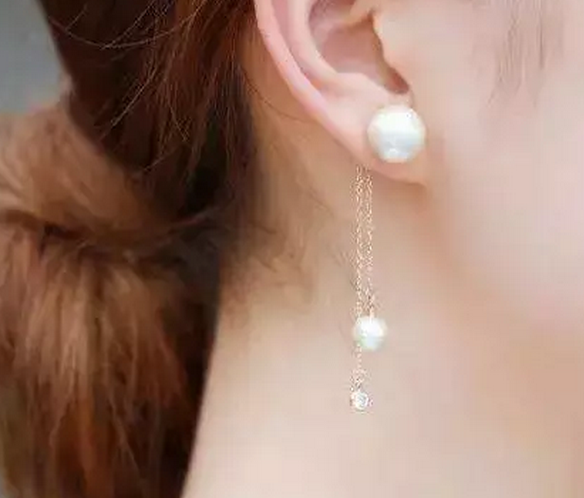 18K Gold Pearl Ear Line